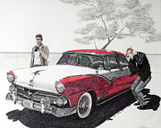 White Walls Drawings Framed Prints - Greasers with Coke Car and Comb Framed Print by Jason Thrun