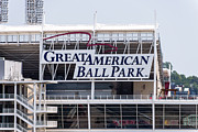 Cincinnati Reds Posters - Great American Ball Park Sign in Cincinnati Poster by Paul Velgos