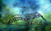 Colorful Bird Prints - Great Blue Heron Color Wash by Carmen Del Valle