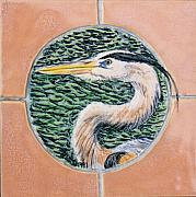 Birds Ceramics Posters - Great Blue Heron Poster by Dy Witt