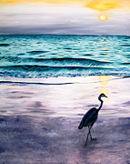 Great Painting Originals - Great Blue Heron by Jeannette Bowen