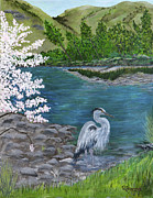 Great Painting Originals - Great Blue Heron by Judy M Watts - Rohanna