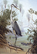 Kevin Brant Paintings - Great Blue Heron by Kevin Brant