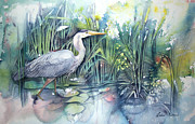 Poured Watercolour Posters - Great Blue Heron Poster by Leslie Redhead