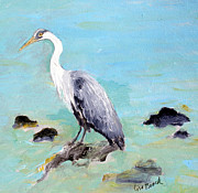 Snowy Egrets Painting Posters - Great Blue Heron Poster by Lisa Baack