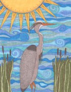 Blue Heron Drawings Prints - Great Blue Heron Print by Pamela Schiermeyer