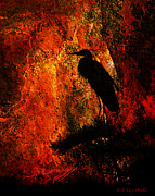Silhouette Digital Art Prints - Great Blue Heron Sitting High Print by J Larry Walker
