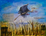 Waterfowl Mixed Media Framed Prints - Great Blue Heron Framed Print by Terry Honstead
