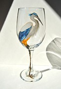 Wine Glass Glass Art Prints - Great Blue Heron Wineglass Print by Pauline Ross