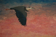 Great Blue Heron Paintings - Great Blue by Nick Flavin