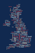 Great Britain Posters - Great Britain UK City text Map Poster by Michael Tompsett