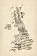 Great Britain Uk Old Sheet Music Map Print by Michael Tompsett