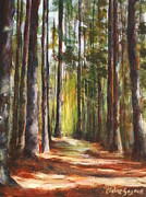 Great Outdoors Paintings - Great Brook Farm Summer Path by Claire Gagnon