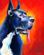Black Artist Drawings Posters - Great Dane dog portrait Poster by Svetlana Novikova