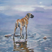Great Dane Paintings - Great Dane by Lee Ann Shepard