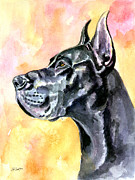 Great Dane Portrait Framed Prints - Great Dane Framed Print by Lyn Cook