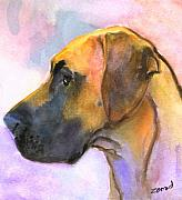 Great Dane Paintings - Great Dane by Mary Jo  Zorad