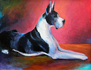 Pictures Drawings Prints - Great Dane painting Svetlana Novikova Print by Svetlana Novikova