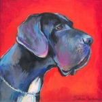 Custom Pet Portraits Prints - Great dane painting Print by Svetlana Novikova
