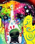 Dog Pet Portraits Mixed Media Posters - Great Dane Warpaint Poster by Dean Russo