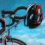Linda Apple Painting Prints - Great Day - bicycle oil painting Print by Linda Apple