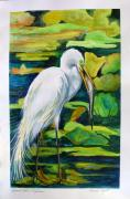Great Painting Originals - Great Egret by Carol Allen Anfinsen