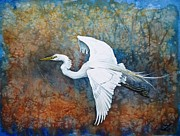 Egret Paintings - Great Egret  by Zaira Dzhaubaeva