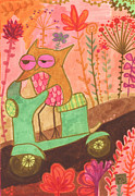 Bright Colors Drawings Metal Prints - Great Escape Metal Print by Kate Cosgrove