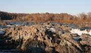 Riverscape - Early Autumn Framed Prints - Great Falls Potomac River Framed Print by Valia Bradshaw