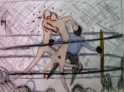 Mixed Martial Arts Drawings - Great Fight 1 by Michael Schneider