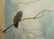 Spooky Scene Paintings - Great gray owl by Lucy Deane