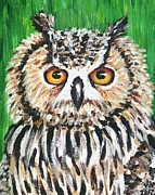 Great Painting Originals - Great Horned Owl 1 by Jeannette Bowen