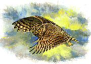 Great Pastels - Great Horned Owl by Janice Lawrence
