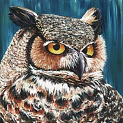 Great Painting Originals - Great Horned Owl by Jeannette Bowen