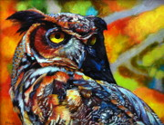 Kelly Drawings Posters - Great Horned Owl Poster by Kelly McNeil