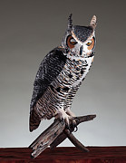 Animal Sculpture Posters - Great Horned Owl Poster by Monte Burzynski