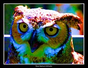 Neon Effects Prints - Great Horned Owl with Neon Effect Print by Rose Santuci-Sofranko