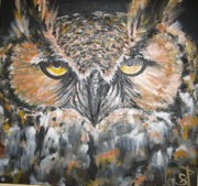 Most Mixed Media Originals - Great Hornet Owl by Sandra Peyrolle