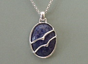 Great Jewelry - Great Lakes Birds In-Flight Blue Sodalite Necklace by Ted Lepczynski