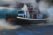 Storm Digital Art Posters - Great Lakes Tugboat Poster by Bob Salo