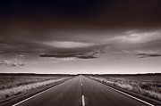 Road Prints - Great Plains Road Trip BW Print by Steve Gadomski