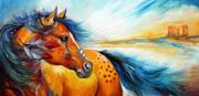 Marcia Prints - GREAT PLAINS WARRIOR an Indian War Pony Print by Marcia Baldwin