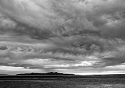 Great Salt Lake Posters - Great Salt Lake Clouds at Sunset - Black and White Poster by Gary Whitton