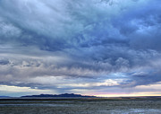 Great Salt Lake Posters - Great Salt Lake Clouds at Sunset Poster by Gary Whitton
