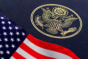 Government Photo Prints - Great Seal of the United States and American Flag Print by Olivier Le Queinec