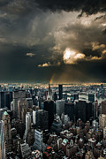 Manhatten Prints - Great Skies over Manhattan Print by Hannes Cmarits