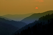 Warm Tones Prints - Great Smoky Mountain sunset Print by Thomas Schoeller