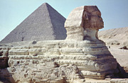 North African Posters - Great Sphinx And Pyramid Poster by Granger
