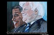 Barack Obama Mixed Media Framed Prints - Great Spirits - Teddy and Barack Framed Print by Valerie Wolf