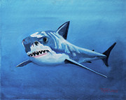 Sharks Paintings - Great White 2 by Terry Lewey